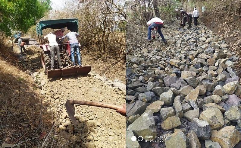शासनाची मदत मिळत नसल्याने शेतकऱ्यांनीच केली रस्ता दुरूस्ती