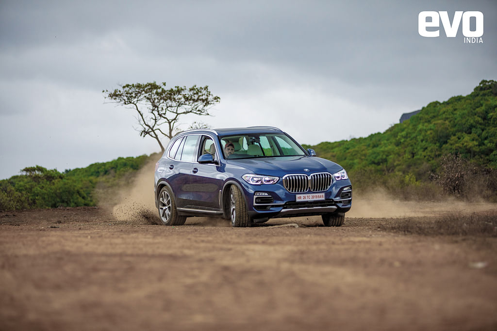 Sideways in the BMW X5! The rear-bias to the all-wheel drivesystem makes it easier to get the tail to step out