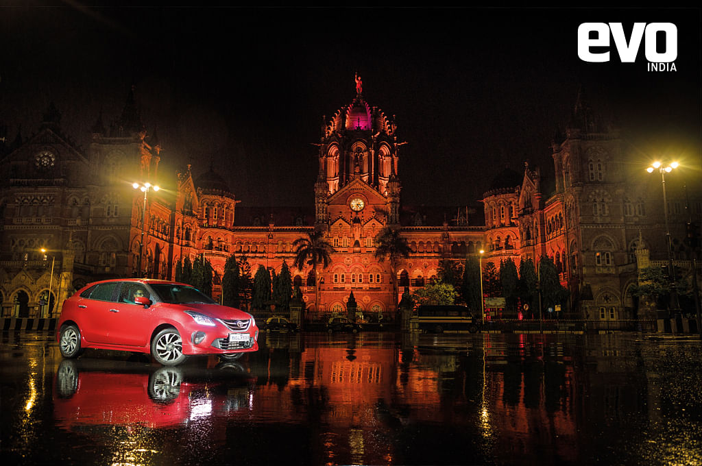 Toyota's latest hatchback, the Glanza makes for quite asight in front of the Chhatrapati Shivaji Maharaj terminus in Mumbai's Fortarea