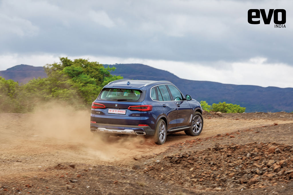 The BMW X5's air-suspension means it can raise its rideheight to deal with off-road tracks better