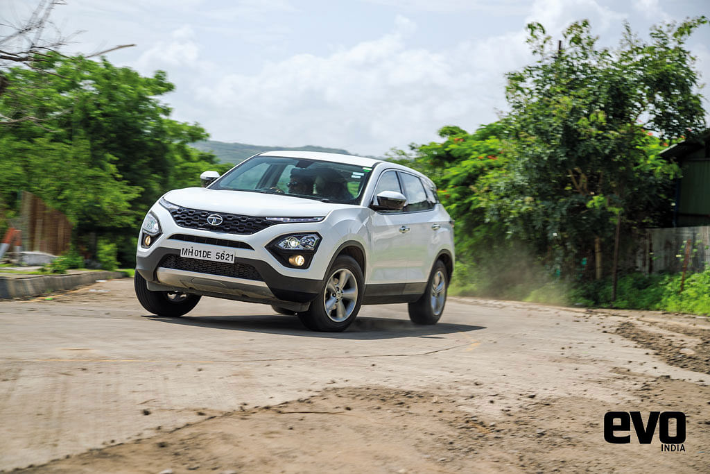 Front three quarters of the Tata Harrier