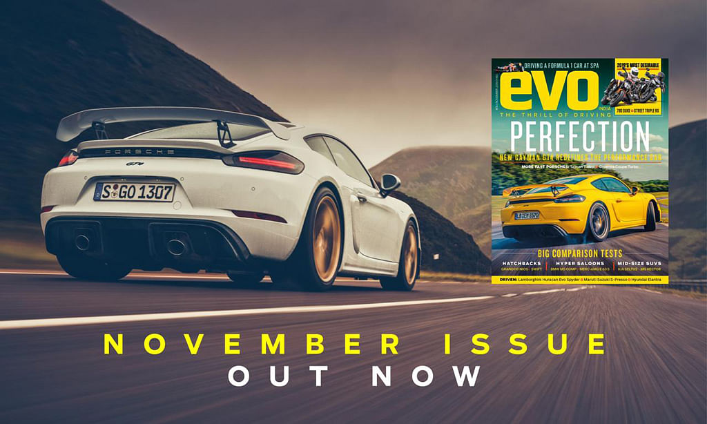 Porsche's Cayman GT4 headlines the November issue of evo India