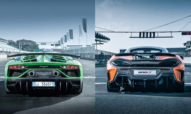 Lamborghini Aventador SVJ vs McLaren 600LT - hardcore track coupes compared