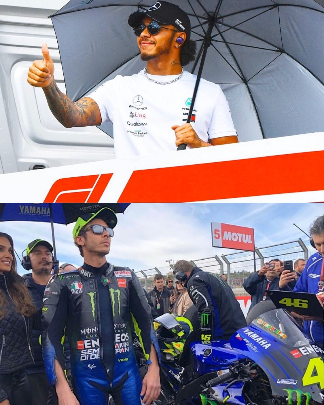Valentino Rossi and Lewis Hamilton will swap vehicles in Valencia next month