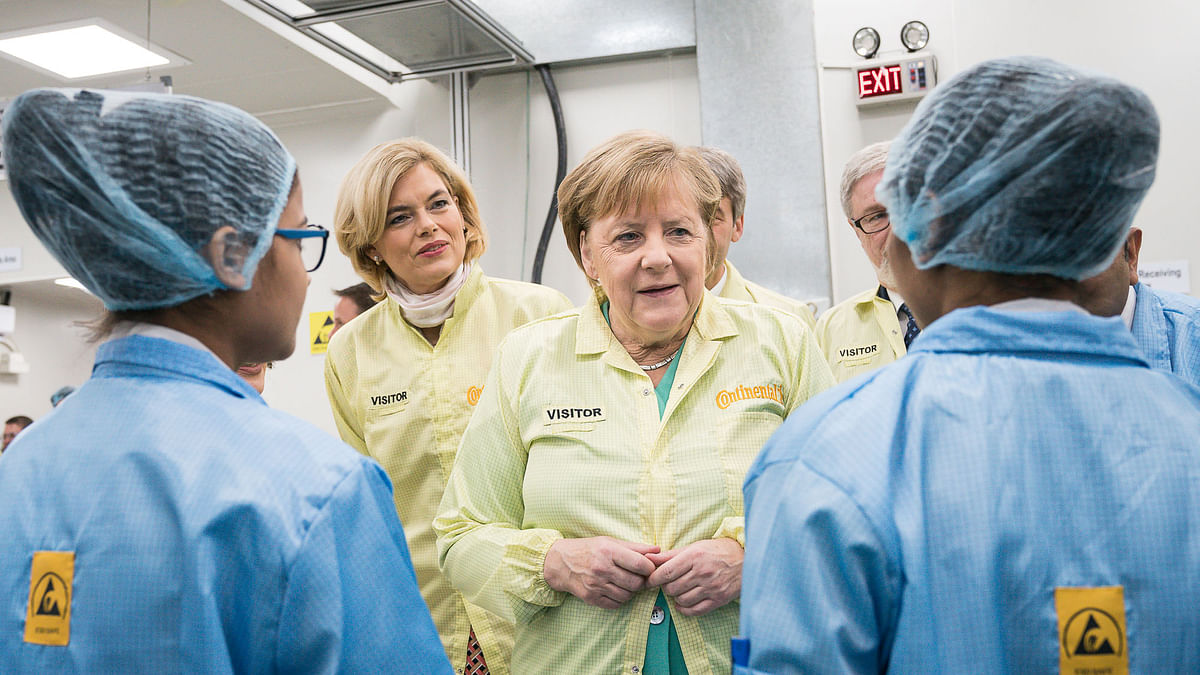 German Chancellor Dr. Angela Merkel visits Continental Automotive India