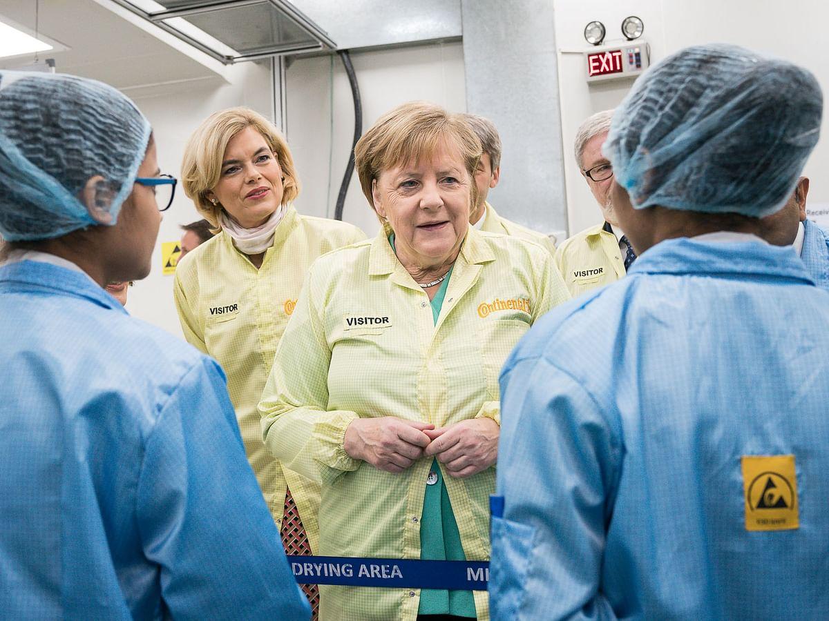 German Chancellor Dr. Angela Merkel visits Continental Automotive India