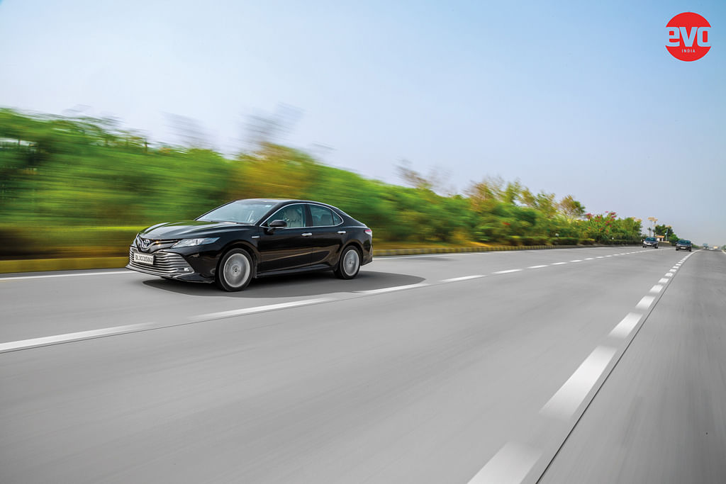 The Camry Hybrid gets up to triple digit speeds before you know it