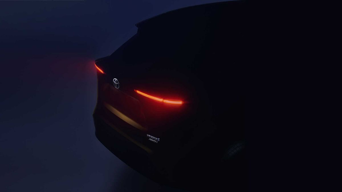Sleek LED tail lamps highlight the rear of Toyota's upcoming small SUV
