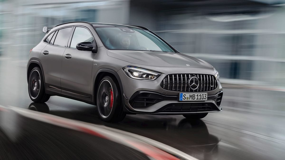 The GLA gets an AMG-specific grille with Panamericana-esque vertical slats