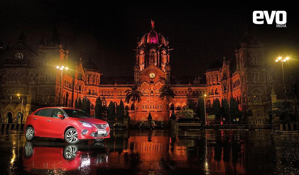 Driving the Glanza around the night streets of Mumbai