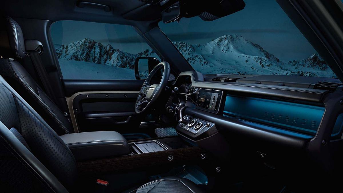 Land Rover Defender interior at night