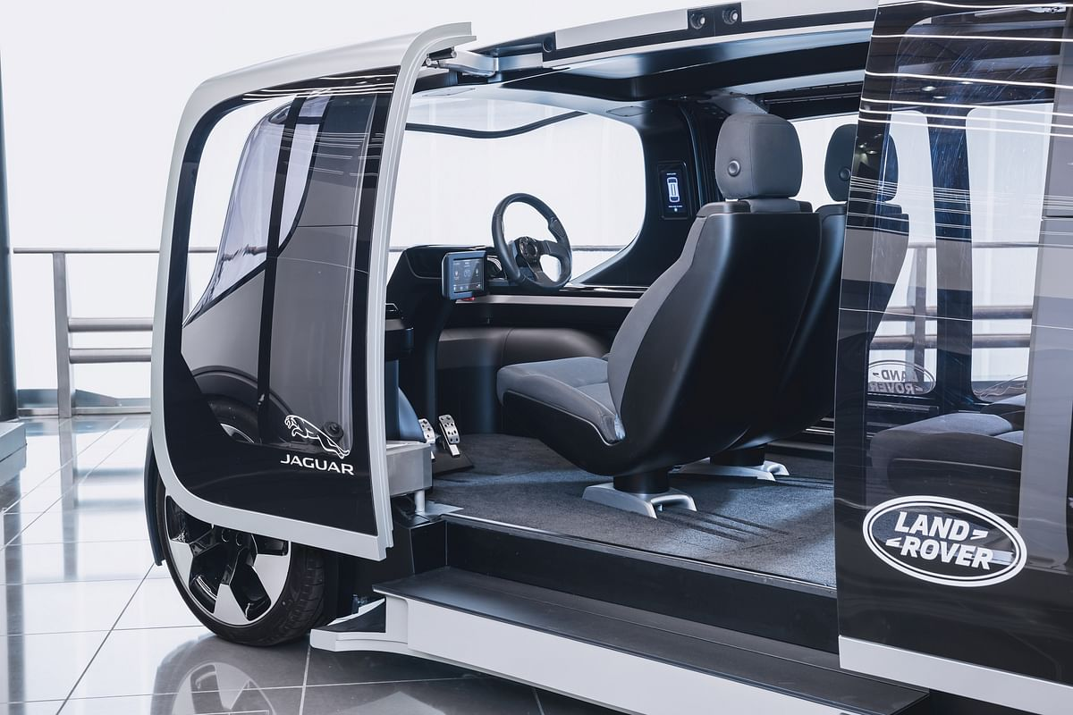 Steering wheel and pedals has been retained presumably for testing purposes for the Jaguar Land Rover Project Vector
