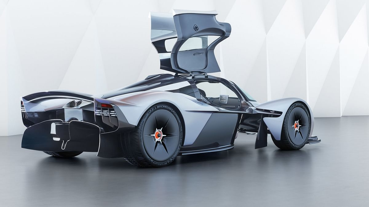 Aston Martin has kept unsprung weight to a minimum by wrapping the rubber around the magnesium centre-lock wheels.