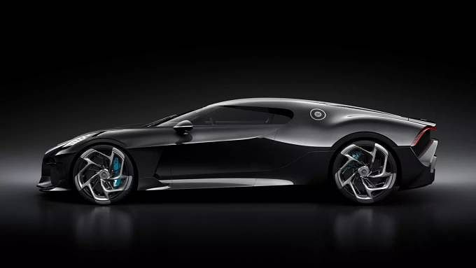 The car features a design that pays tribute to the iconic Bugatti Type 57SC Atlantic