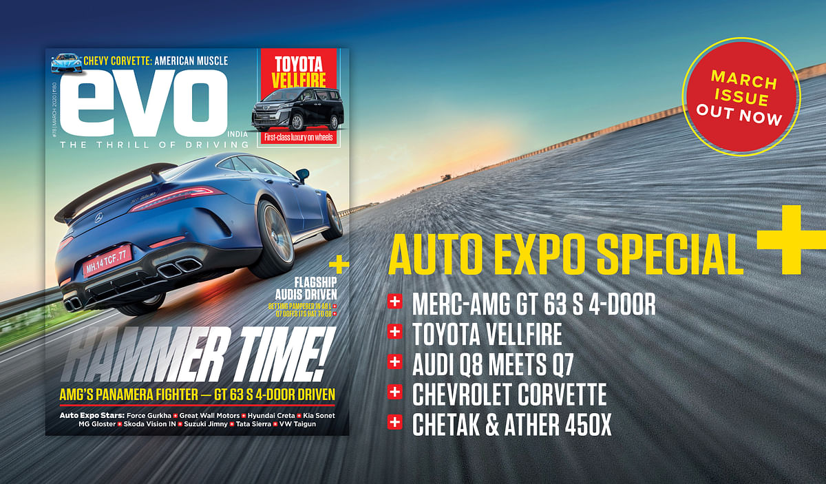 On the cover of the March 2020 issue of evo India, the Mercedes-AMG GT 63 S 4-Door Coupe.