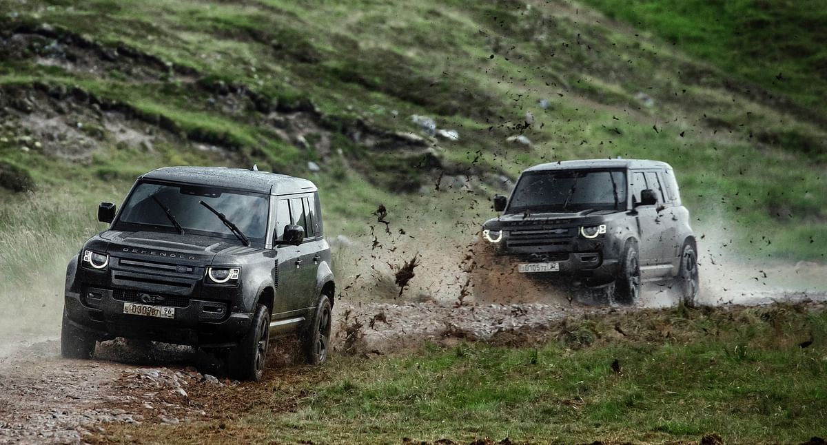 Defenders in a high octane chase sequence in a clip that Land Rover released.