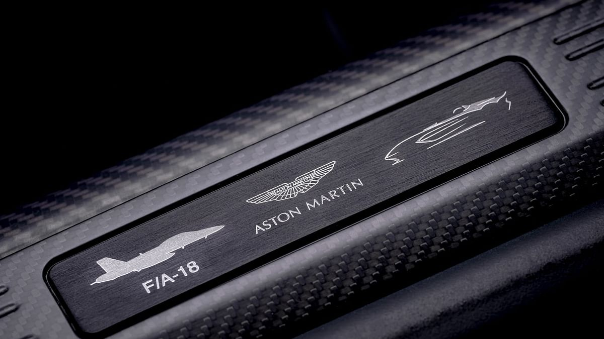 Aston Martin says cars design inspired by the F/A-18 fighter jet.