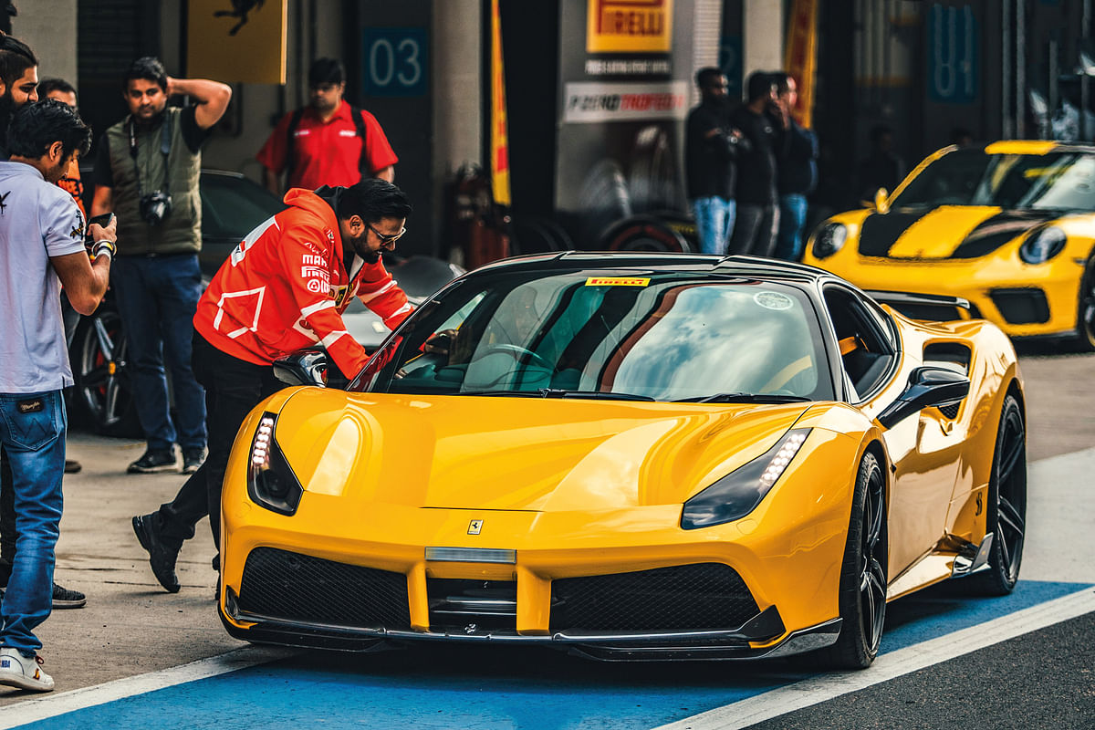 Ferrari 488 GTB with its monster twin-turbo motor was one of the faster supercars at the track day.