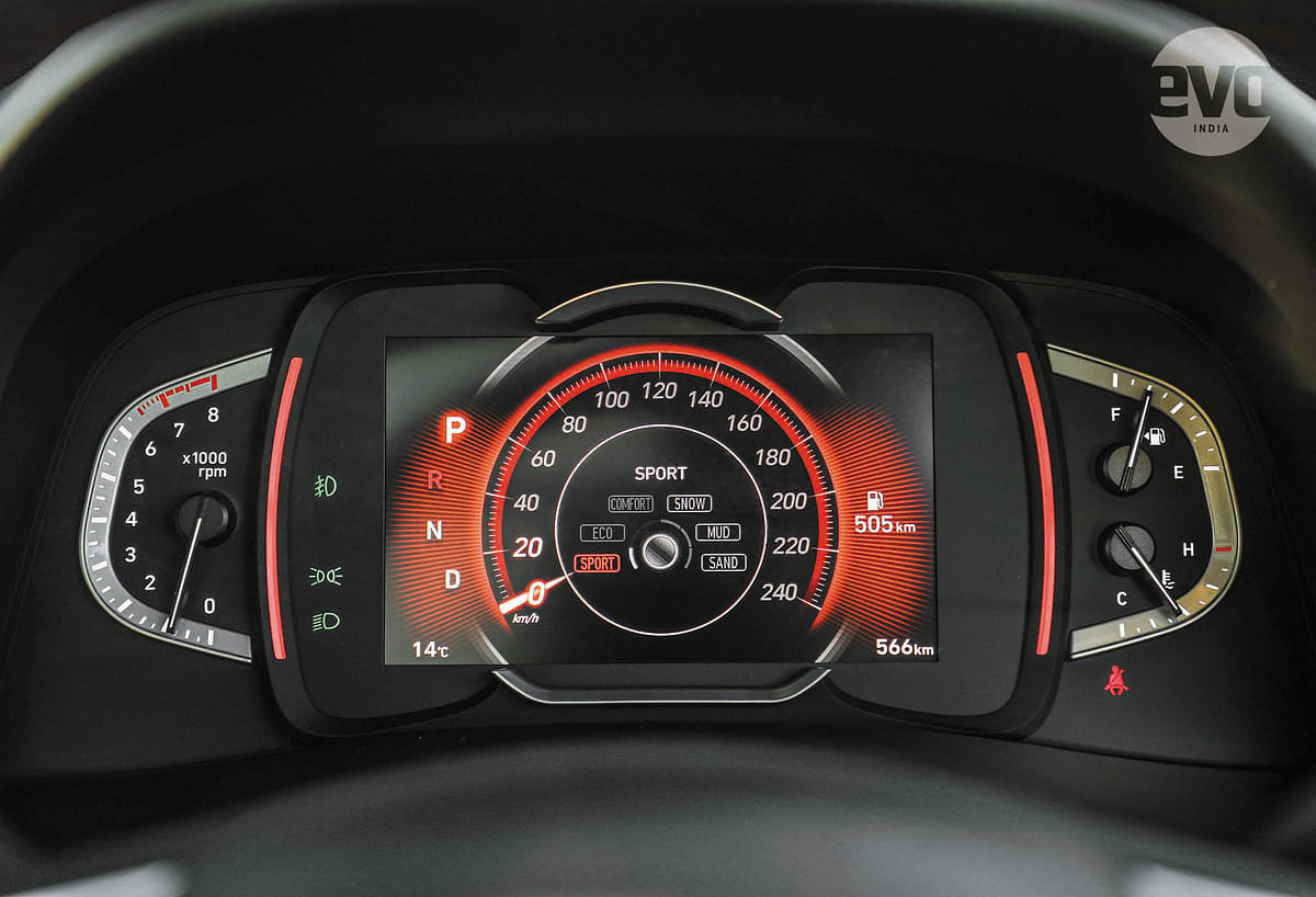 The instrument cluster has a 7-inch high-resolution screen for the speedo that has different colour schemes for Eco, Comfort and Sport modes (the latter obviously red) and is flanked by analogue gauges for fuel, revs and temps.