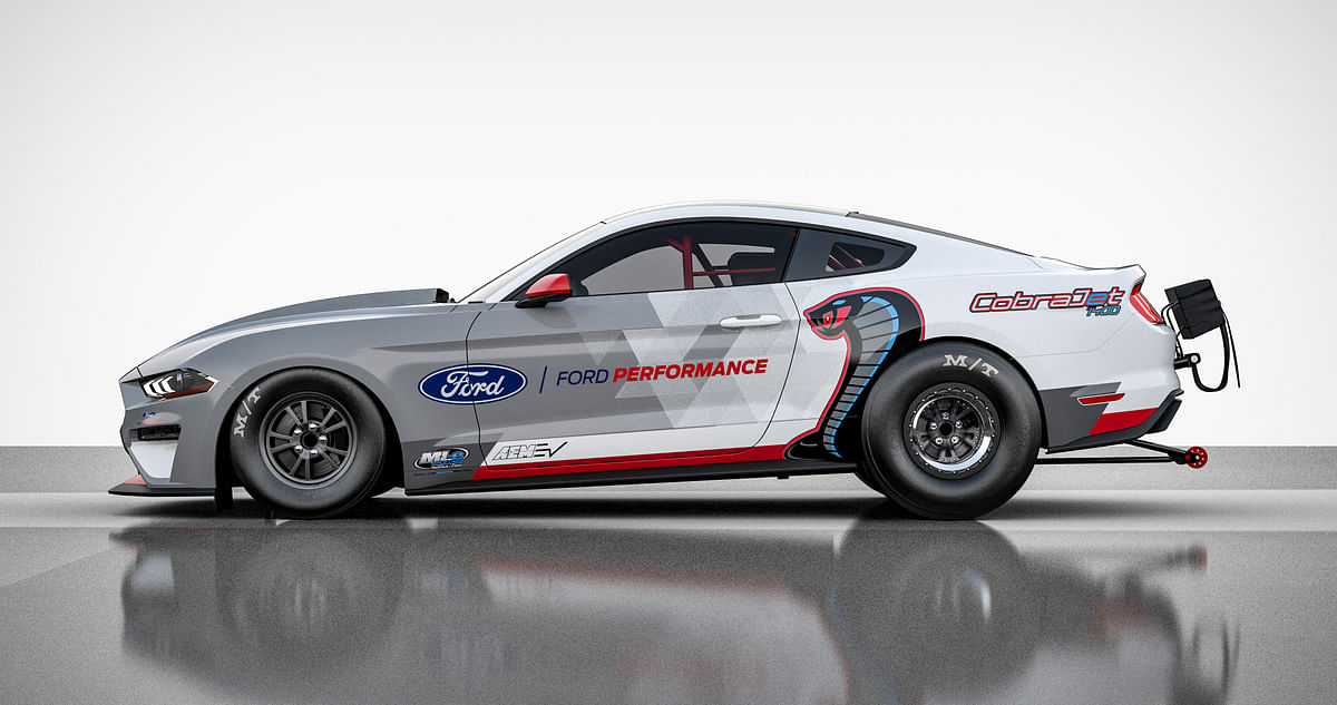 The drag racer pays homage to the original 1968 Mustang Cobra Jet
