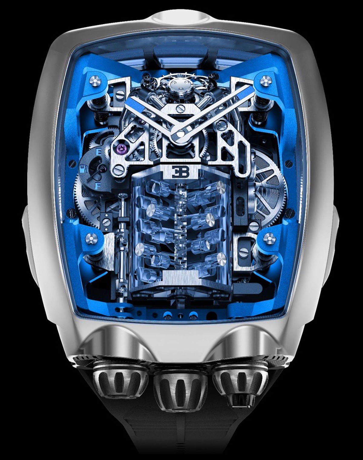 The watchmaker wanted to highlight the beauty of the W16 engine that is at the heart and centre of the Bugatti Chiron