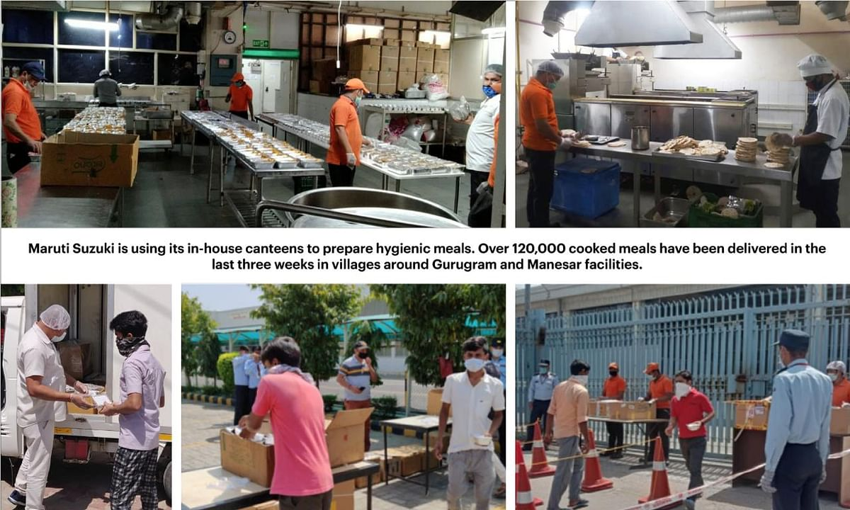Maruti Suzuki India has started using its in-house canteens for preparing hygienic meals for the villages around its Gurugram and Manesar plants.