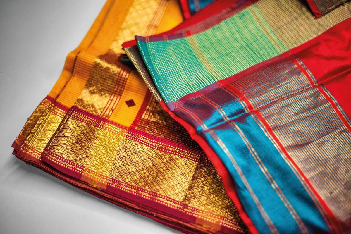 Some examples of finished Maheshwari sarees