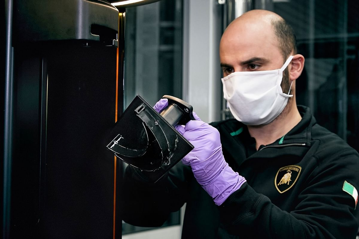 The Italian supercar manufacturer will produce 200 medical shields per day in its production plant in Sant'Agata, Bolognese