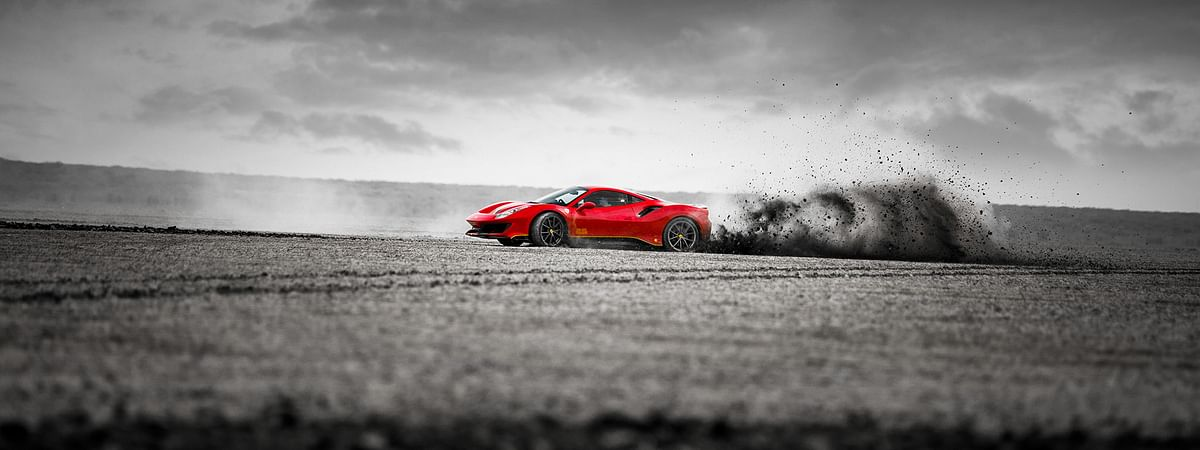 Blasting down the flattest salt marshland in India in the Ferrari 488 Pista