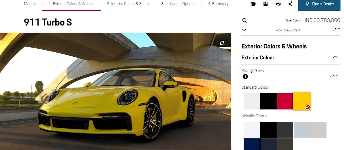 Porsche's online configurator gives the price away at the top right of the page