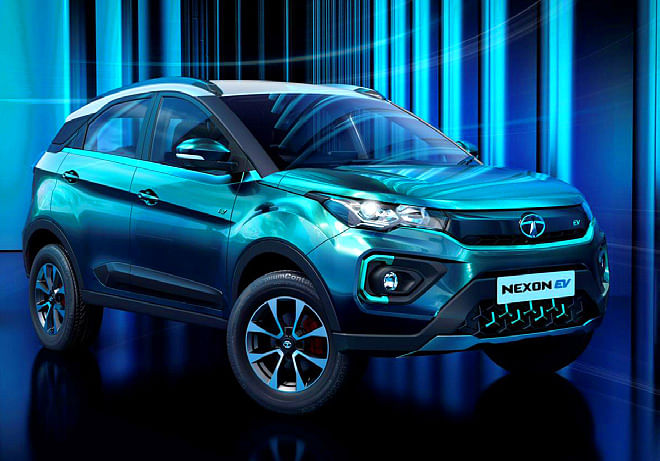 Digitised visual of Tata Nexon EV, viewed front right three quarters