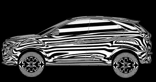 Visual rendition of left profile of Tata Nexon