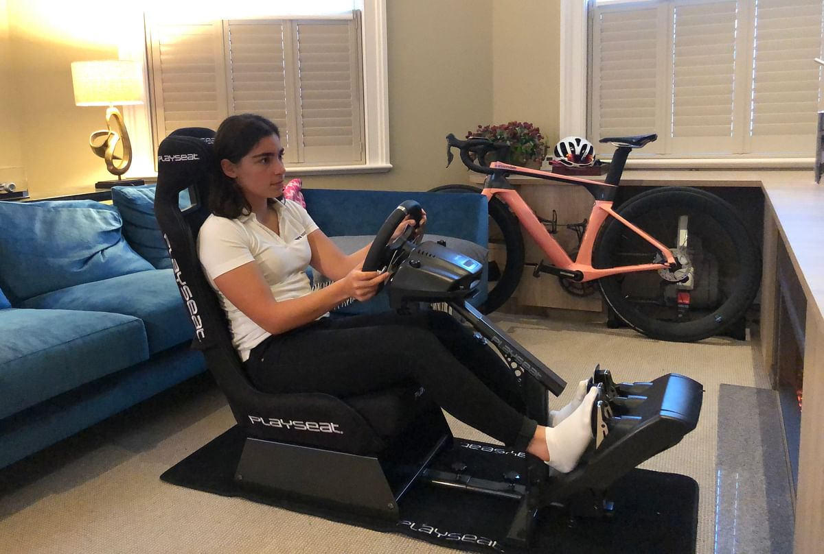 W Series driver Jamie Chadwick practicing on her simulator at home
