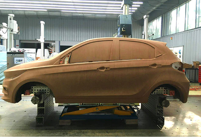 Life size clay model of Tata Altroz, viewed front left profile