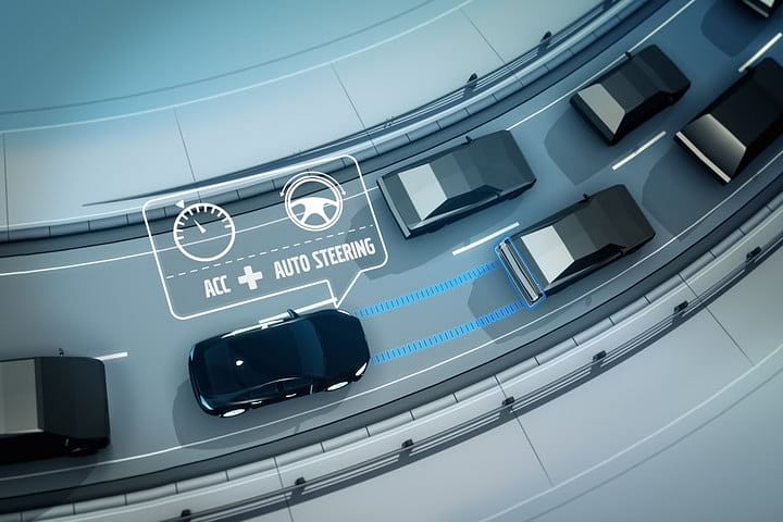 The system detects the cars in front with the help of radar placed behind the grille of the car and adjusts its speed.