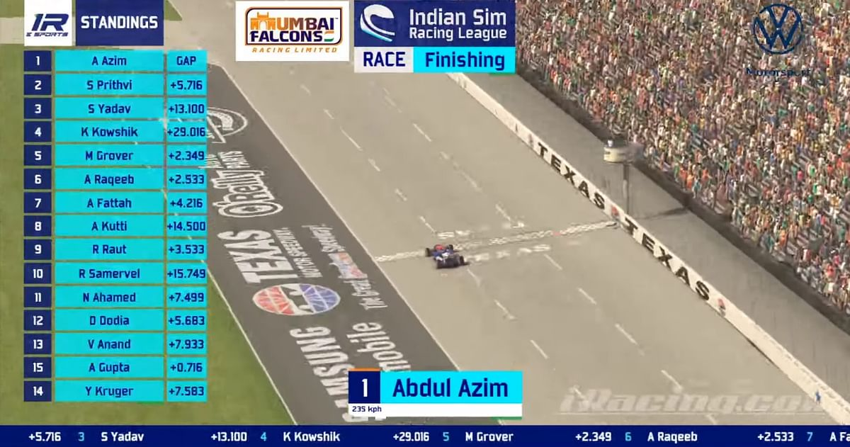 Abdul Azim takes the win in race 1 of season 3 of the Indian Sim Racing League