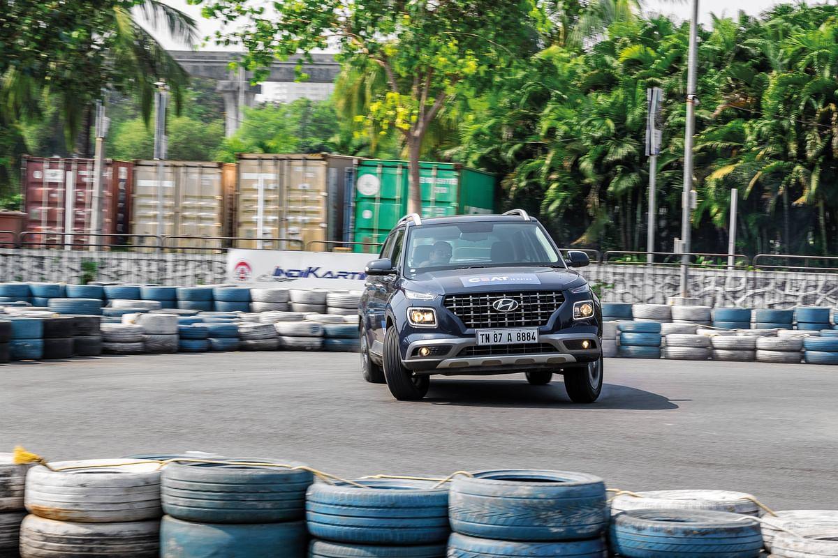 Hyundai Venue being drifted by ed Sirish Chandran at Ajmera Indi-Karting circuit in Mumbai