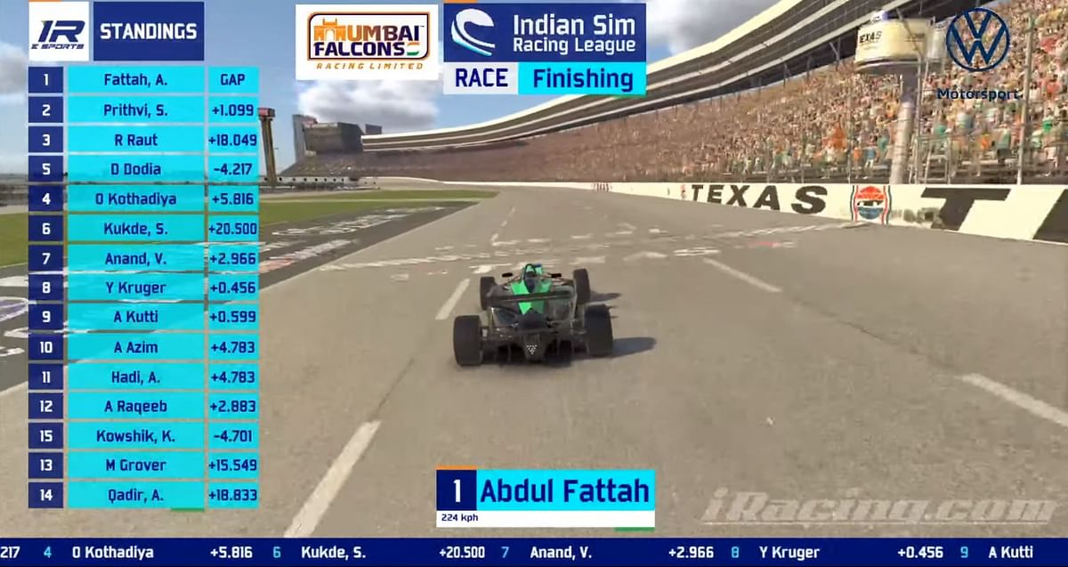 Abdul Fatah takes the win in race 2 of season 3 of the Indian Sim Racing League