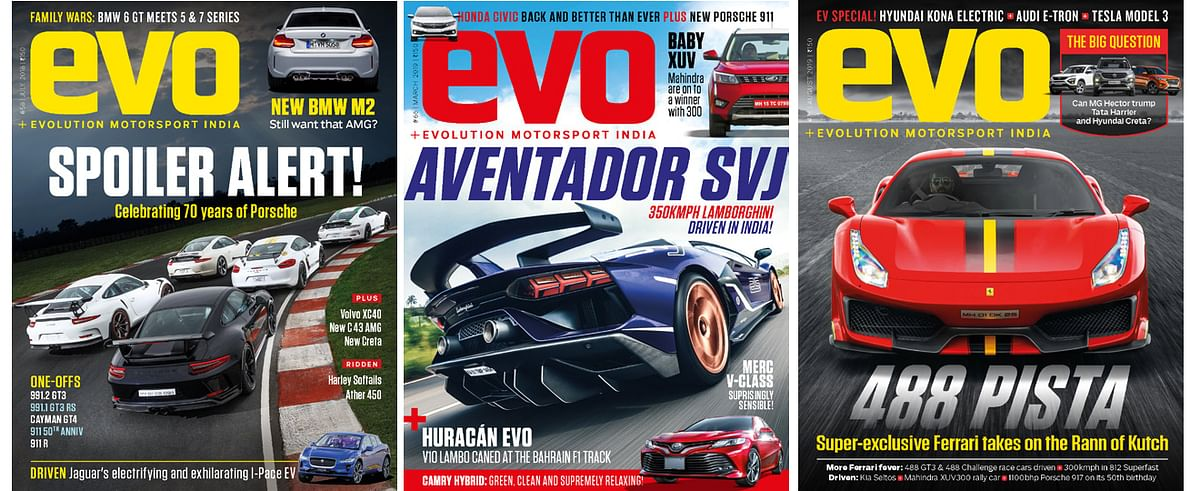 evo India covers for July 2018, March 2019 and August 2019