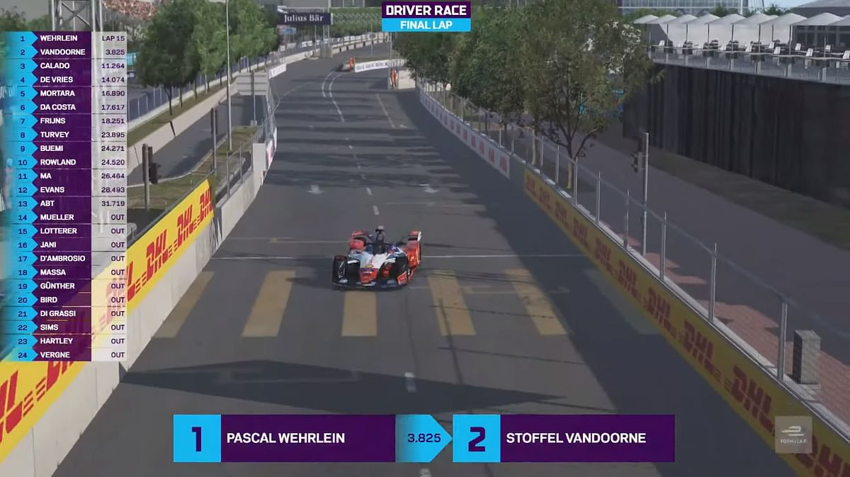 Pascal Wehrlein repeats his win in round 4 of FIA ABB Formula E Race At Home challenge