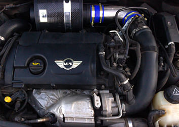 Custom intake fits perfectly within the engine bay