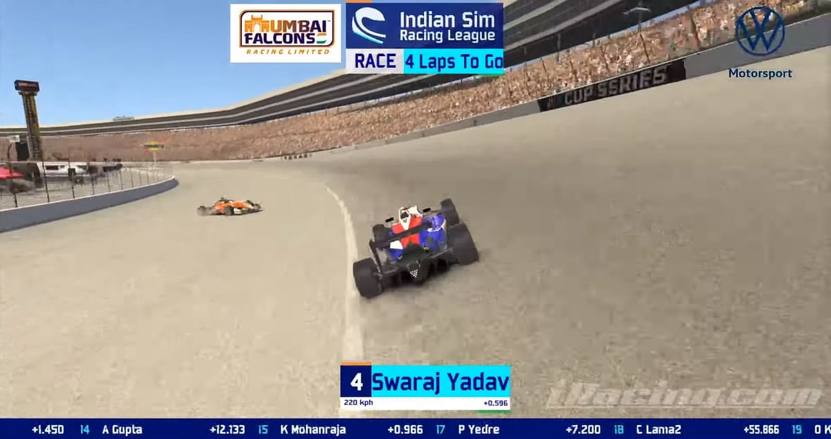 Karan Kowshik spins out in the main Oval section of the Texas Speedway