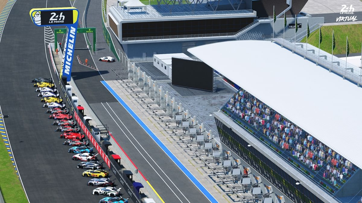 View of the car lineup and pits, at the 24 hours of Le Mans Virtual pits