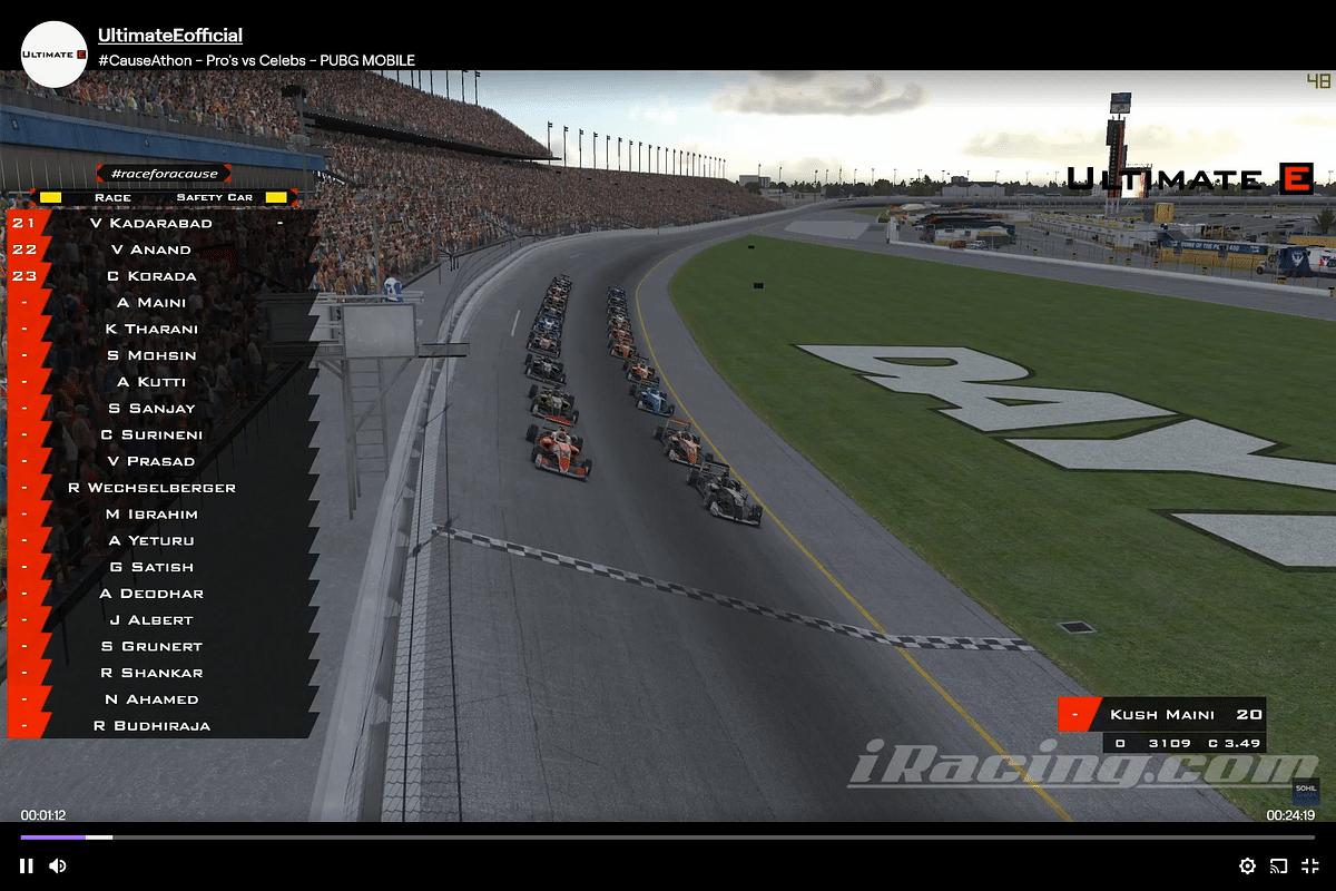Racers line up at the virtual Daytona Circuit