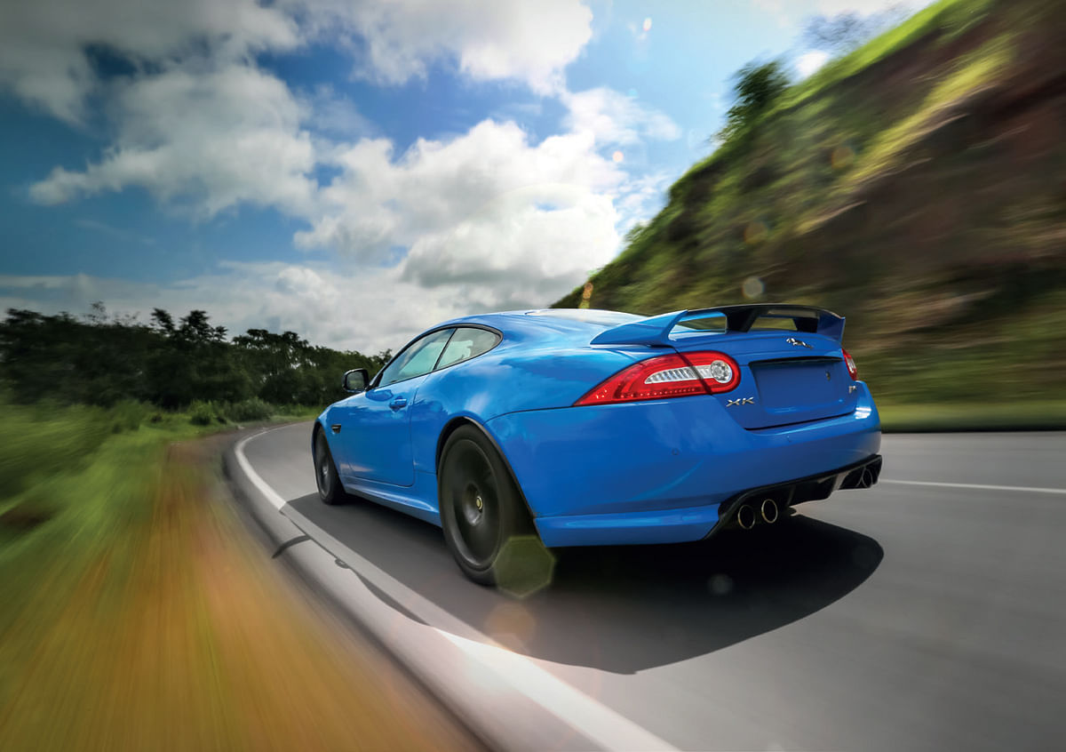 Massive carbon fibre diffuser, quad pipes and huge rear wing enhances the slightly deranged nature of the XKR-S
