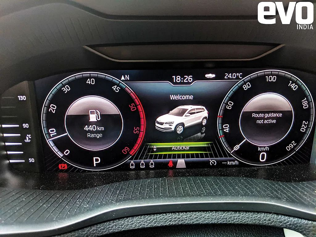 Skoda Karoq cluster displays a message warning of driver fatigue