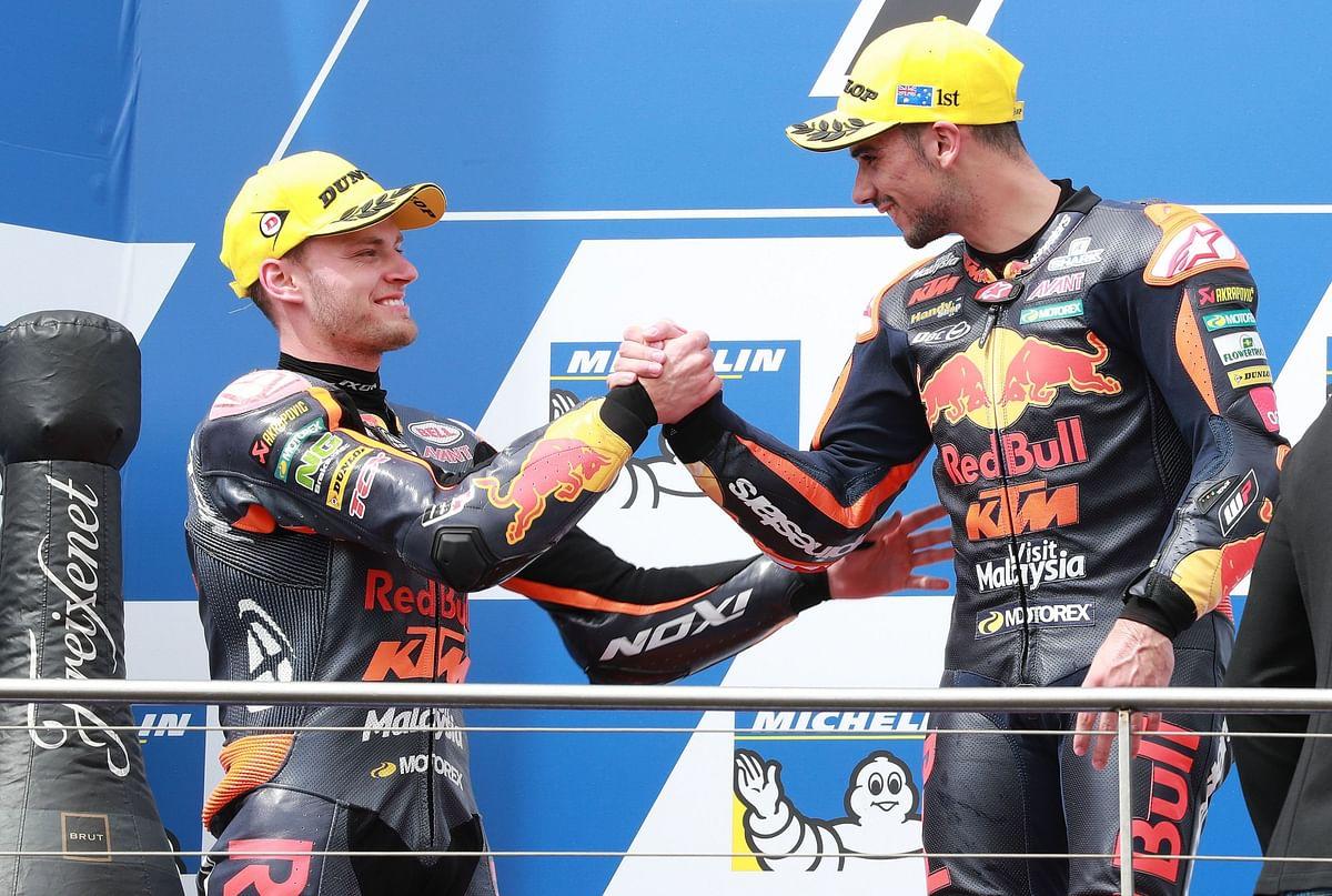 Binder and Oliveira on the 2017 Moto2 Australian GP podium