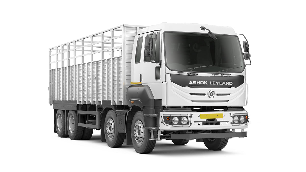 Ashok Leyland AVTR truck in extended wheelbase open carrier body style with multi-axle configuration
