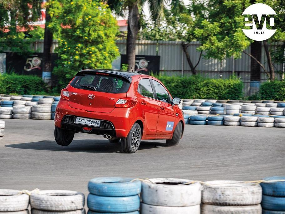 Tiago JTP lifting its inside rear wheel at the go-kart track.