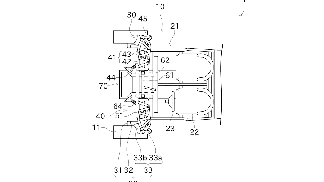 Kawasaki three-wheeler patent design top view
